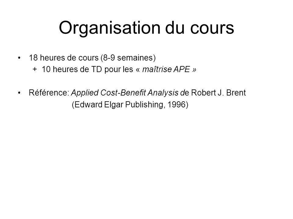 Organisation du cours 18 heures de cours (8-9 semaines)