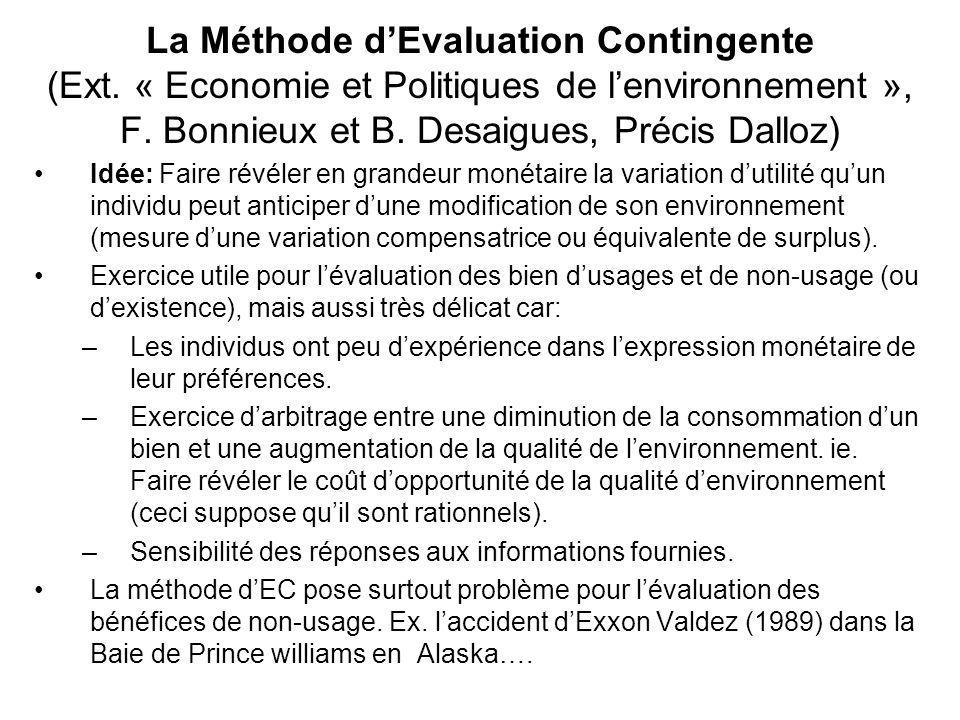 La Méthode d'Evaluation Contingente (Ext