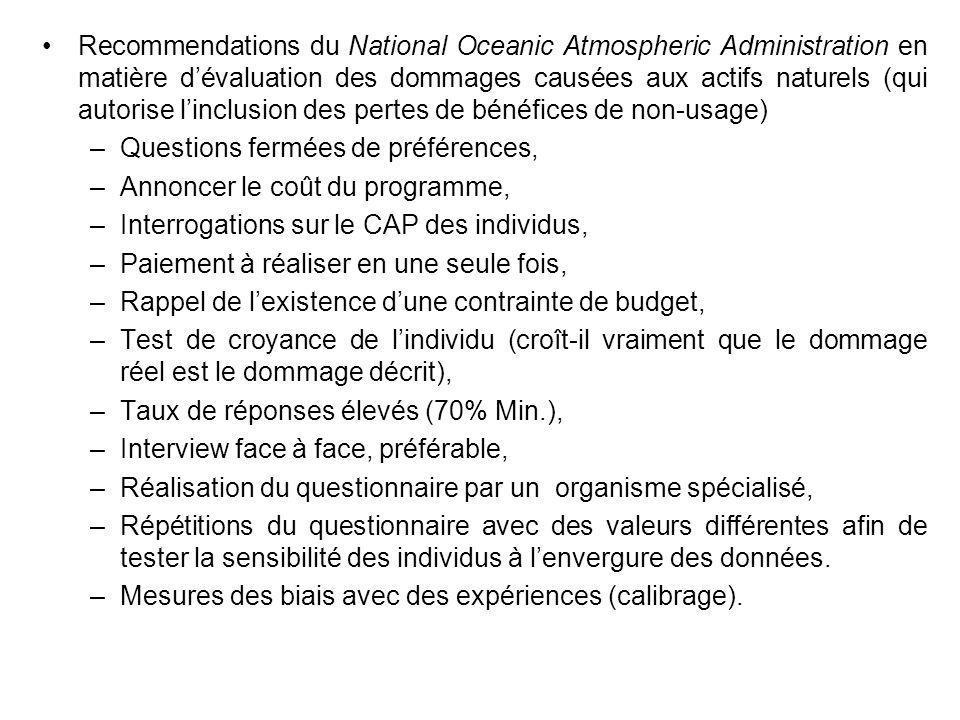Recommendations du National Oceanic Atmospheric Administration en matière d'évaluation des dommages causées aux actifs naturels (qui autorise l'inclusion des pertes de bénéfices de non-usage)