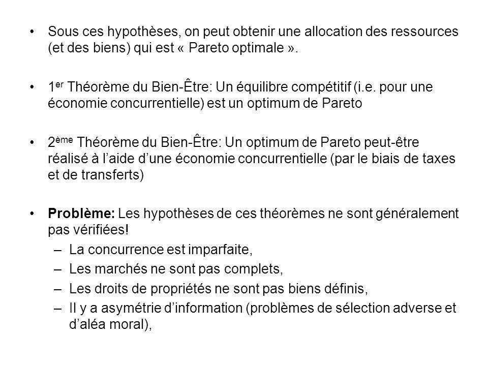 Sous ces hypothèses, on peut obtenir une allocation des ressources (et des biens) qui est « Pareto optimale ».