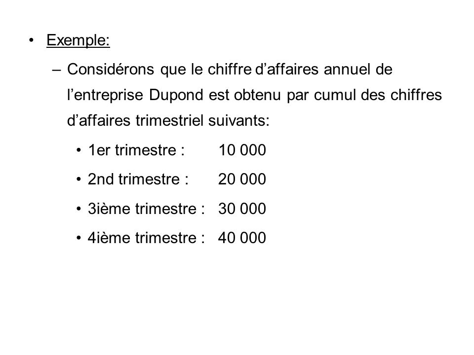 Exemple: Considérons que le chiffre d'affaires annuel de l'entreprise Dupond est obtenu par cumul des chiffres d'affaires trimestriel suivants:
