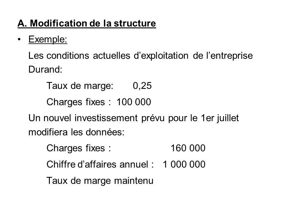 A. Modification de la structure