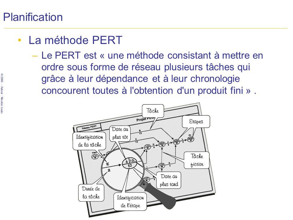 Planification La méthode PERT
