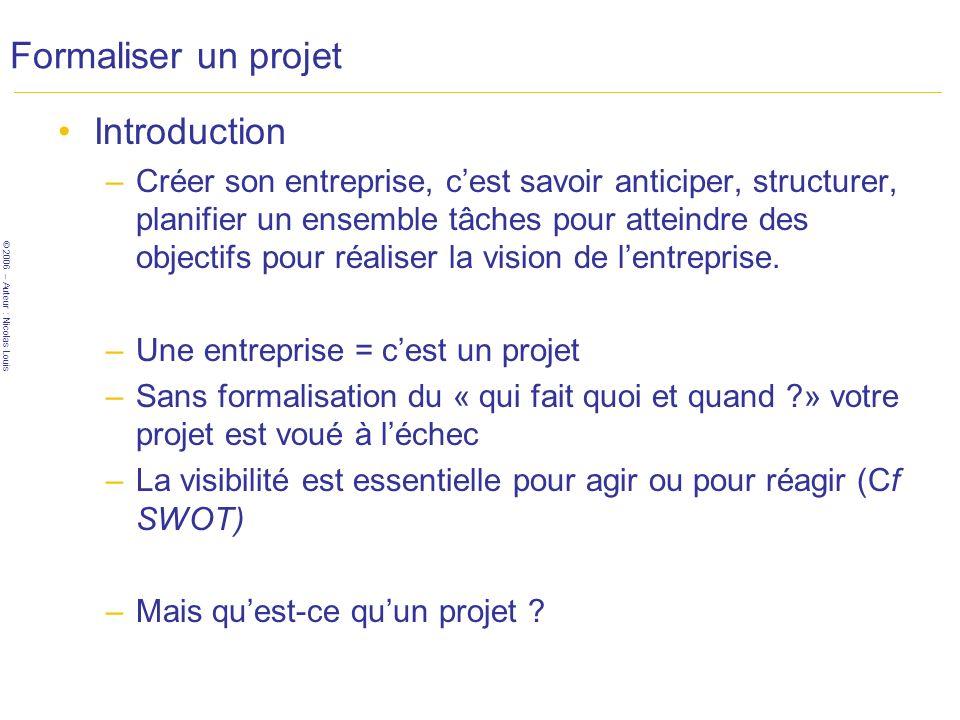 Formaliser un projet Introduction