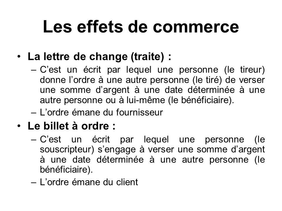 Les effets de commerce La lettre de change (traite) :