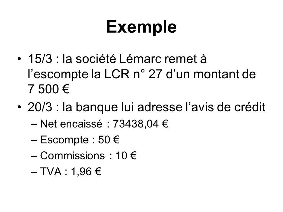 Exemple 15/3 : la société Lémarc remet à l'escompte la LCR n° 27 d'un montant de 7 500 € 20/3 : la banque lui adresse l'avis de crédit.