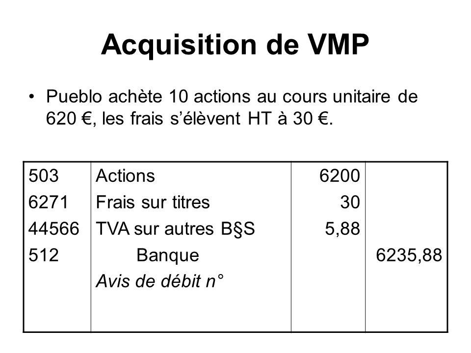 Acquisition de VMP Pueblo achète 10 actions au cours unitaire de 620 €, les frais s'élèvent HT à 30 €.
