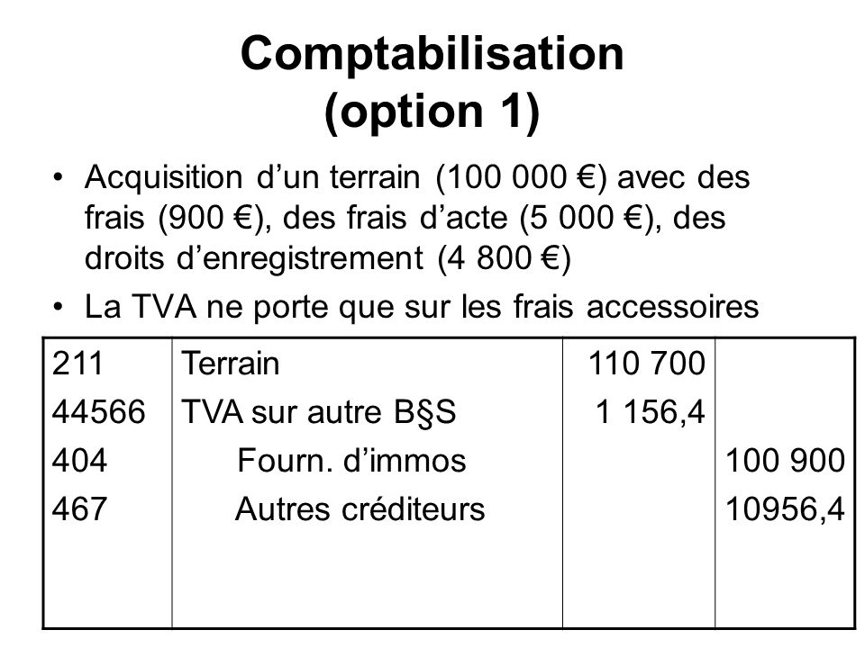 Comptabilisation (option 1)