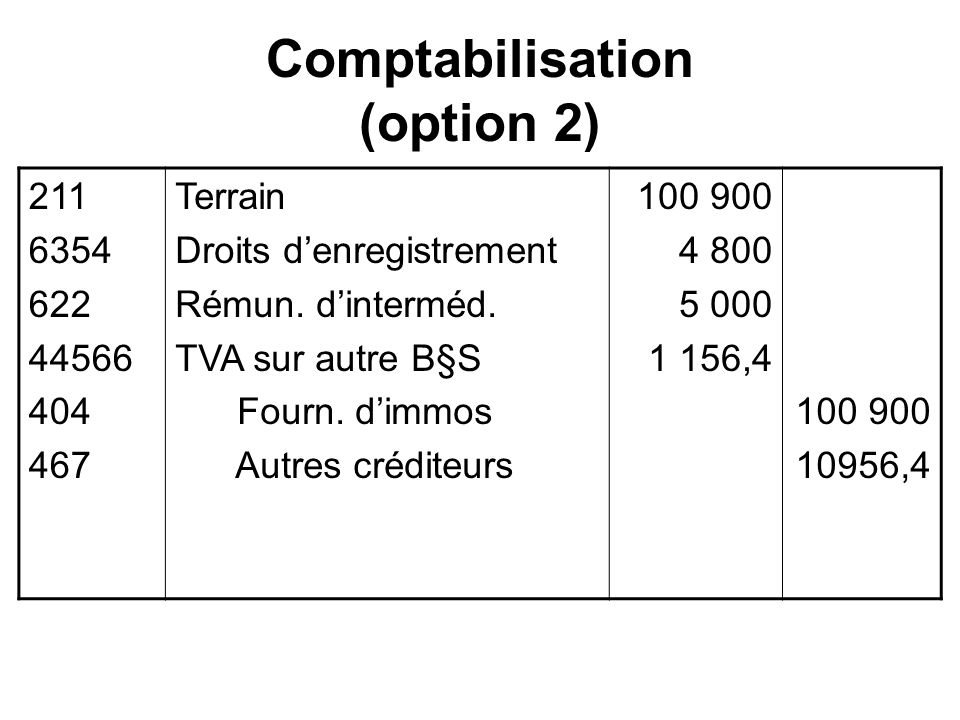 Comptabilisation (option 2)