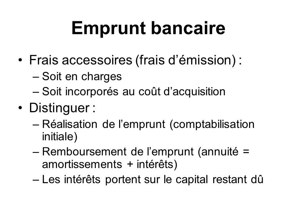 Emprunt bancaire Frais accessoires (frais d'émission) : Distinguer :