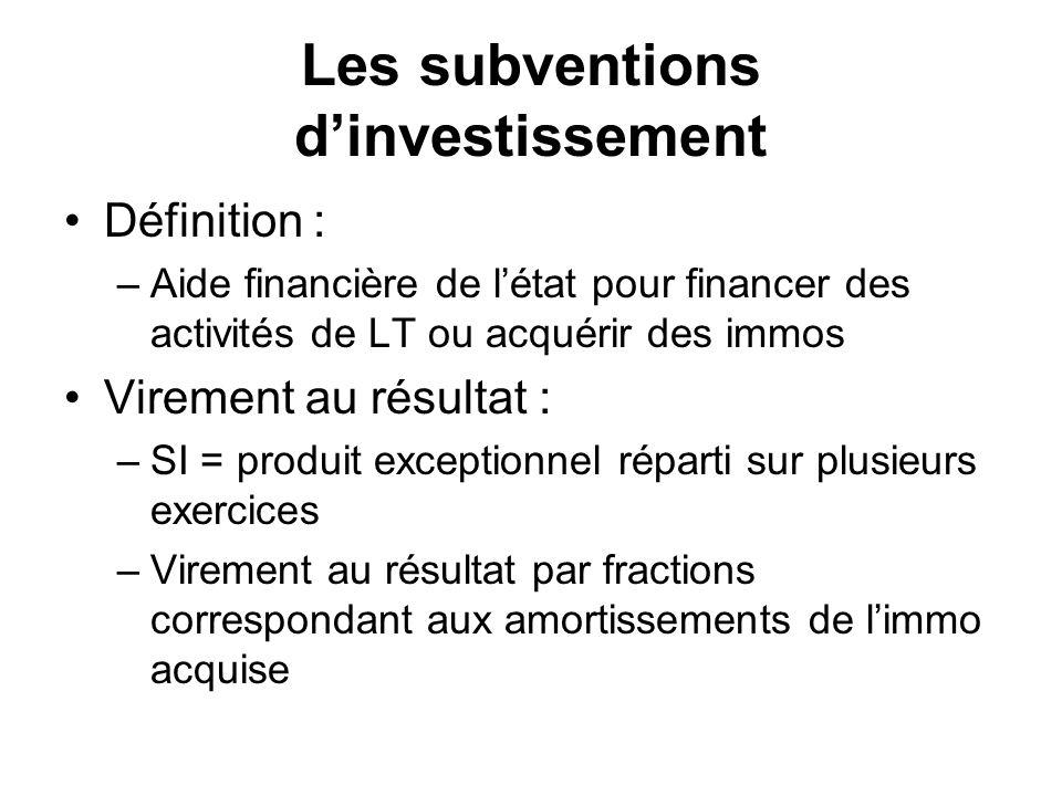 Les subventions d'investissement