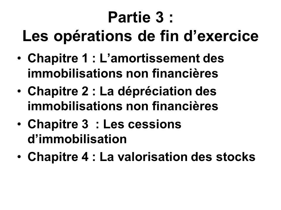 Partie 3 : Les opérations de fin d'exercice