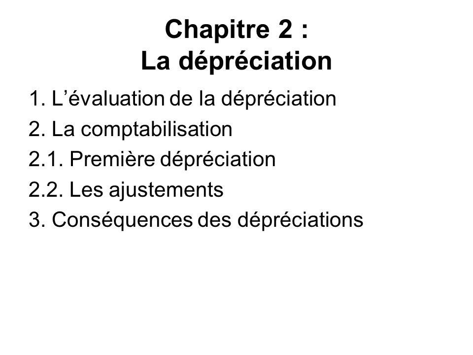 Chapitre 2 : La dépréciation