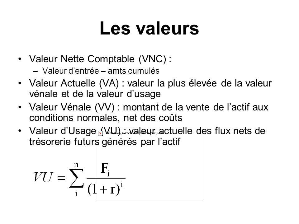Les valeurs Valeur Nette Comptable (VNC) :