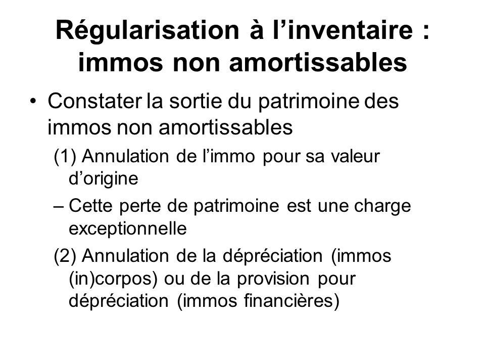 Régularisation à l'inventaire : immos non amortissables