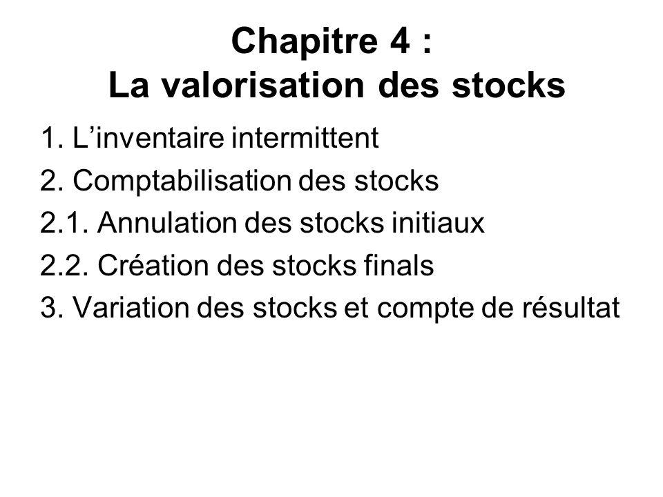 Chapitre 4 : La valorisation des stocks