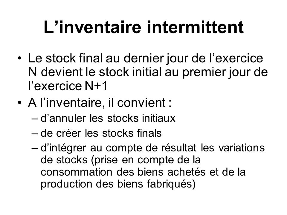 L'inventaire intermittent