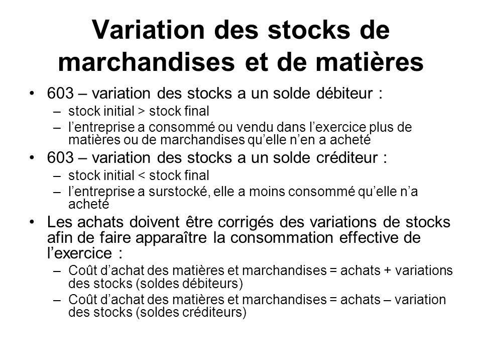 Variation des stocks de marchandises et de matières