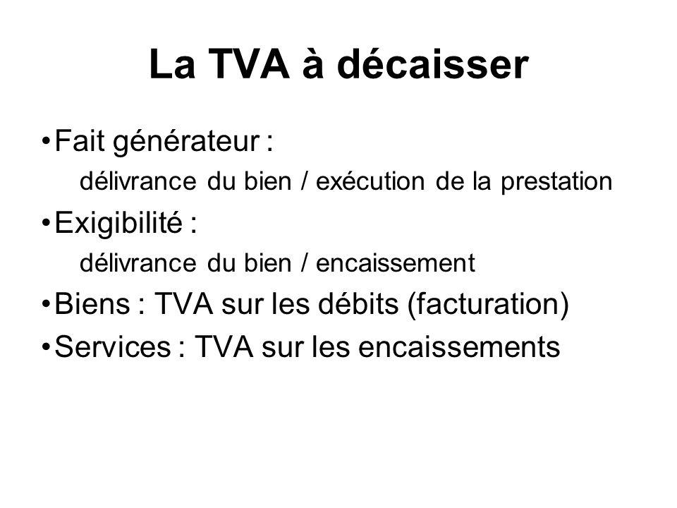La TVA à décaisser Fait générateur : Exigibilité :