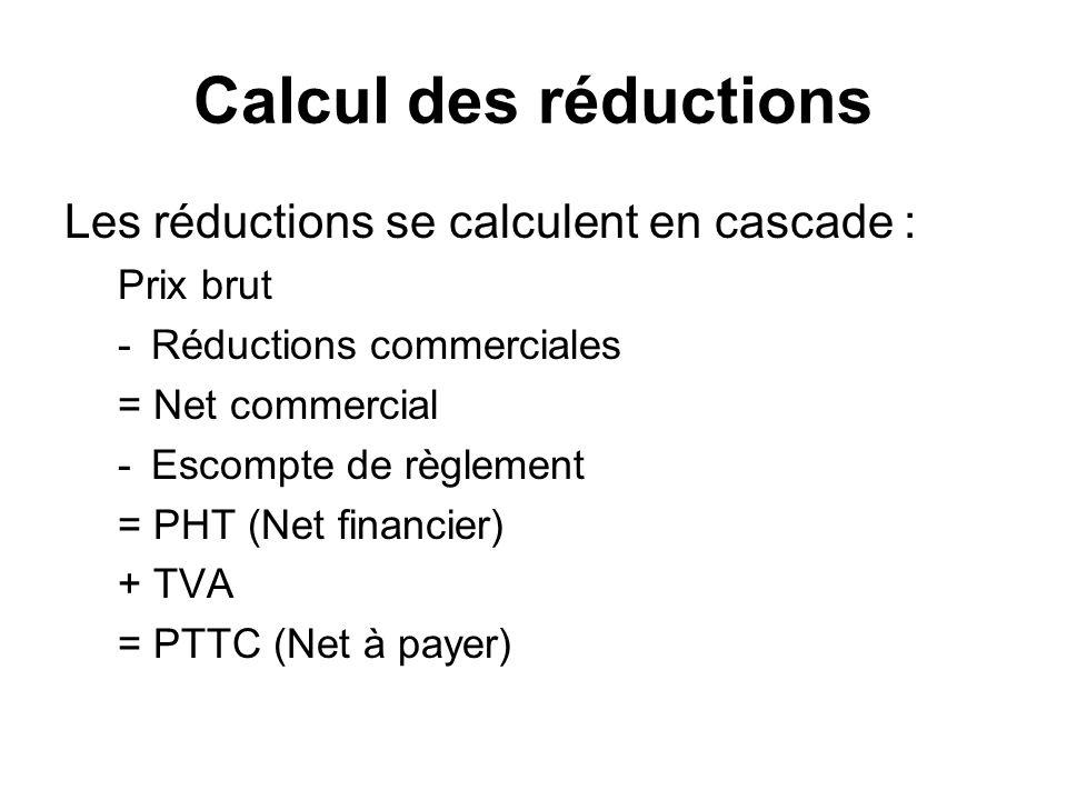 Calcul des réductions Les réductions se calculent en cascade :