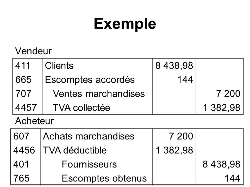 Exemple Vendeur Acheteur 411 665 707 4457 Clients Escomptes accordés