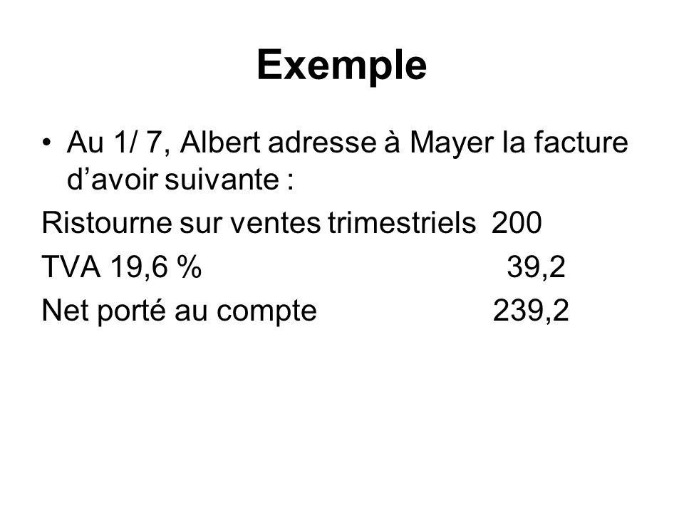 Exemple Au 1/ 7, Albert adresse à Mayer la facture d'avoir suivante :
