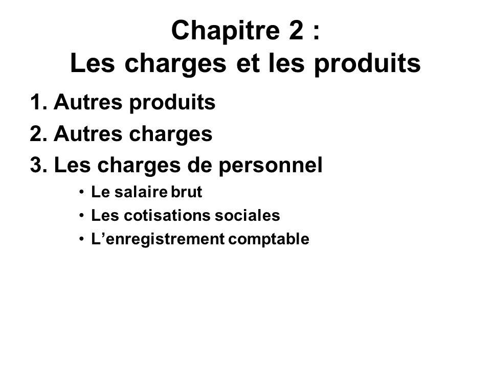 Chapitre 2 : Les charges et les produits
