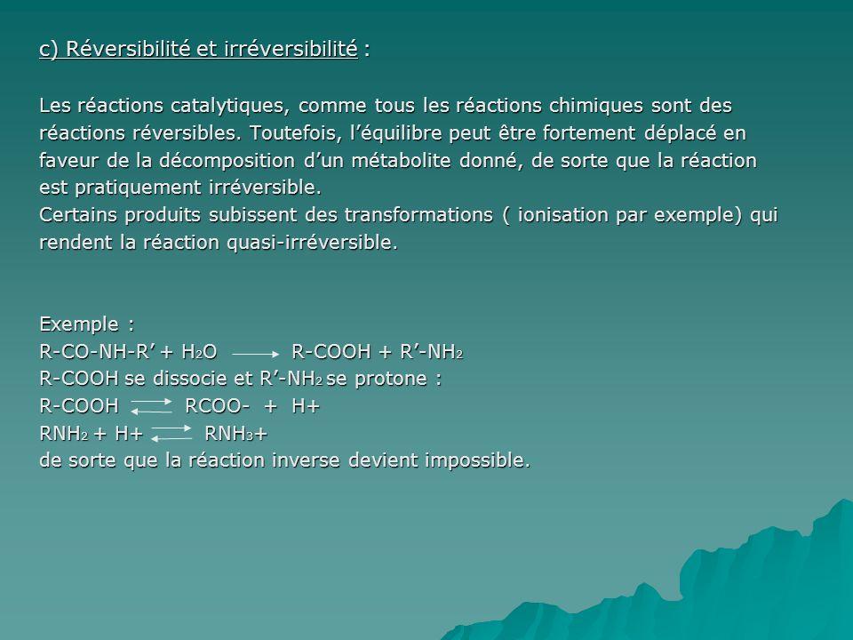 c) Réversibilité et irréversibilité :