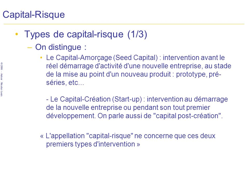 Types de capital-risque (1/3)