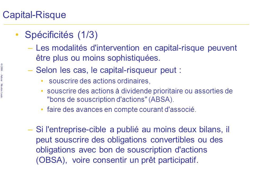 Capital-Risque Spécificités (1/3)