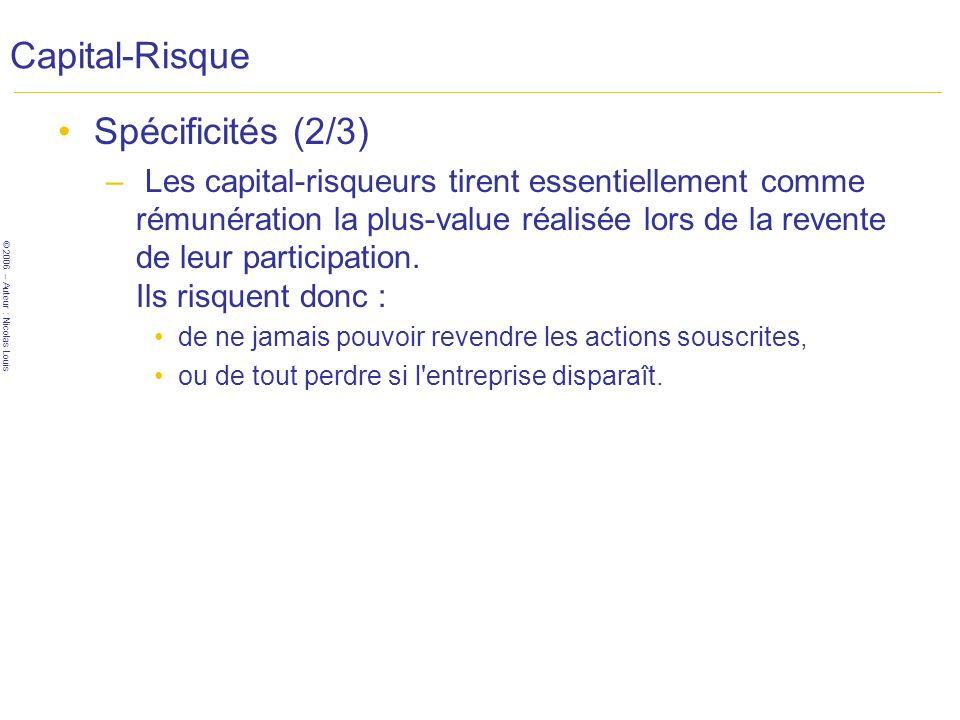 Capital-Risque Spécificités (2/3)