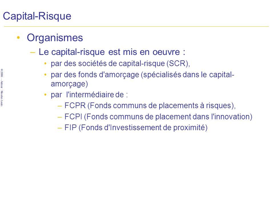 Capital-Risque Organismes Le capital-risque est mis en oeuvre :