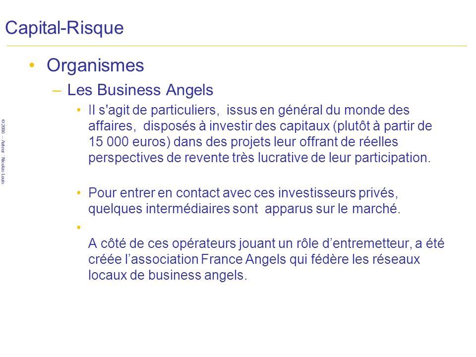 Capital-Risque Organismes Les Business Angels