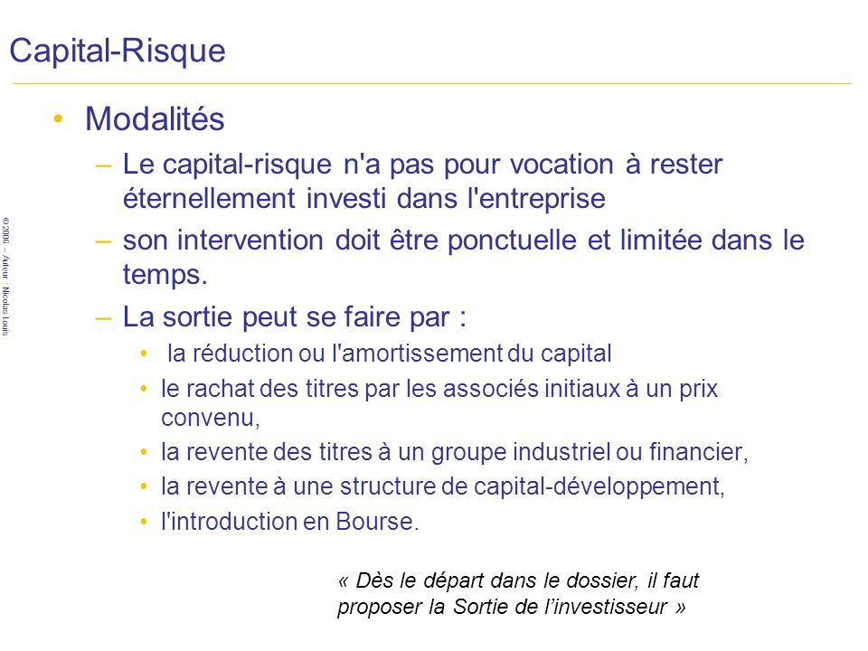 Capital-Risque Modalités