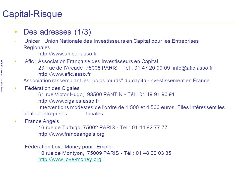 Capital-Risque Des adresses (1/3)