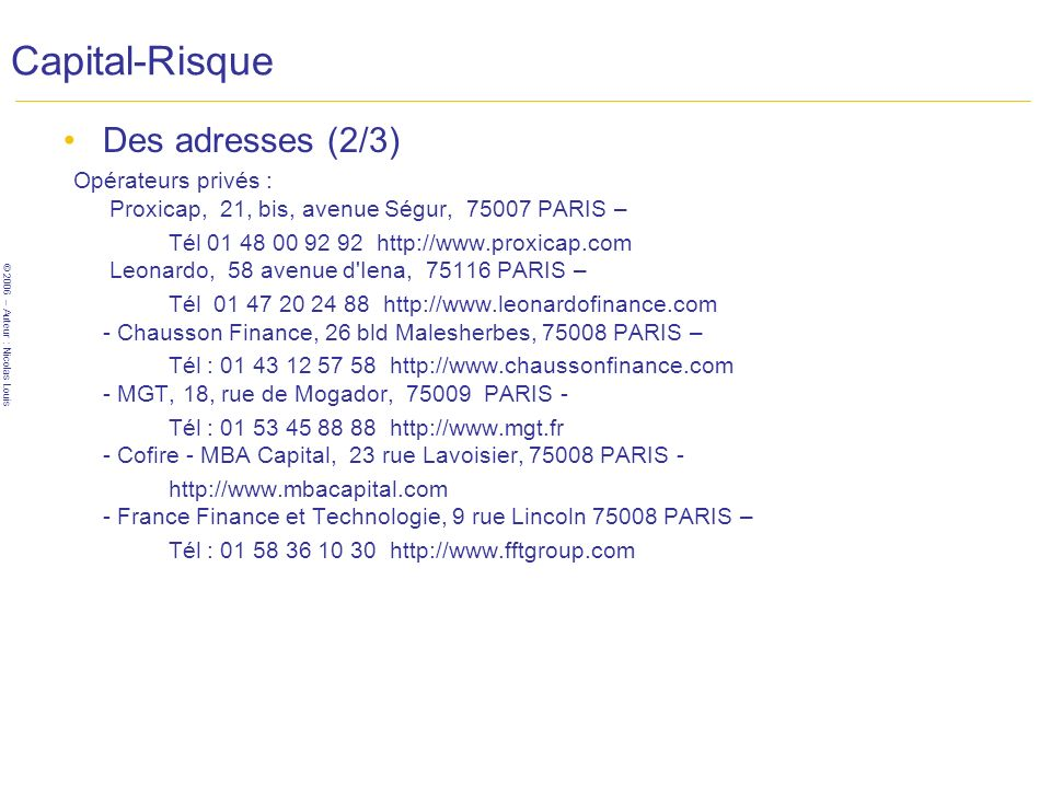 Capital-Risque Des adresses (2/3)