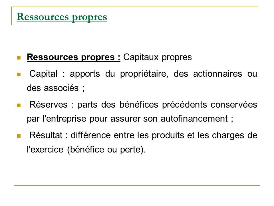 Ressources propres Ressources propres : Capitaux propres