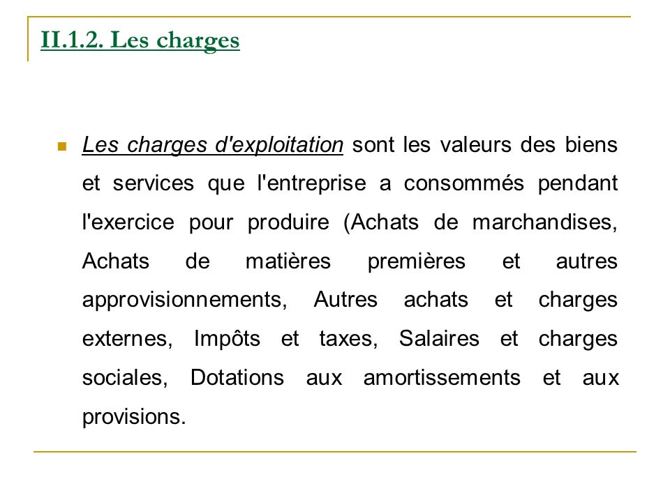 II.1.2. Les charges