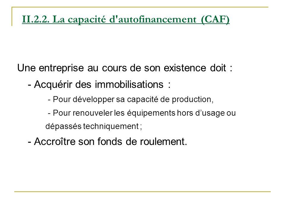 II.2.2. La capacité d autofinancement (CAF)