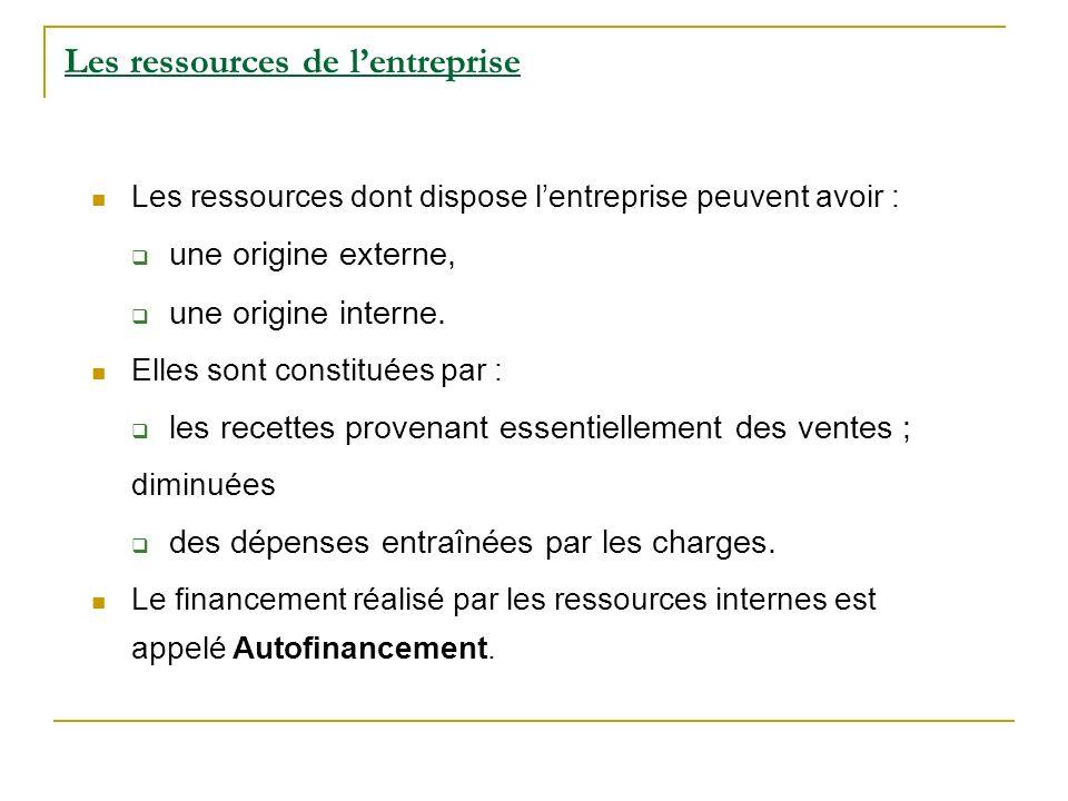 Les ressources de l'entreprise