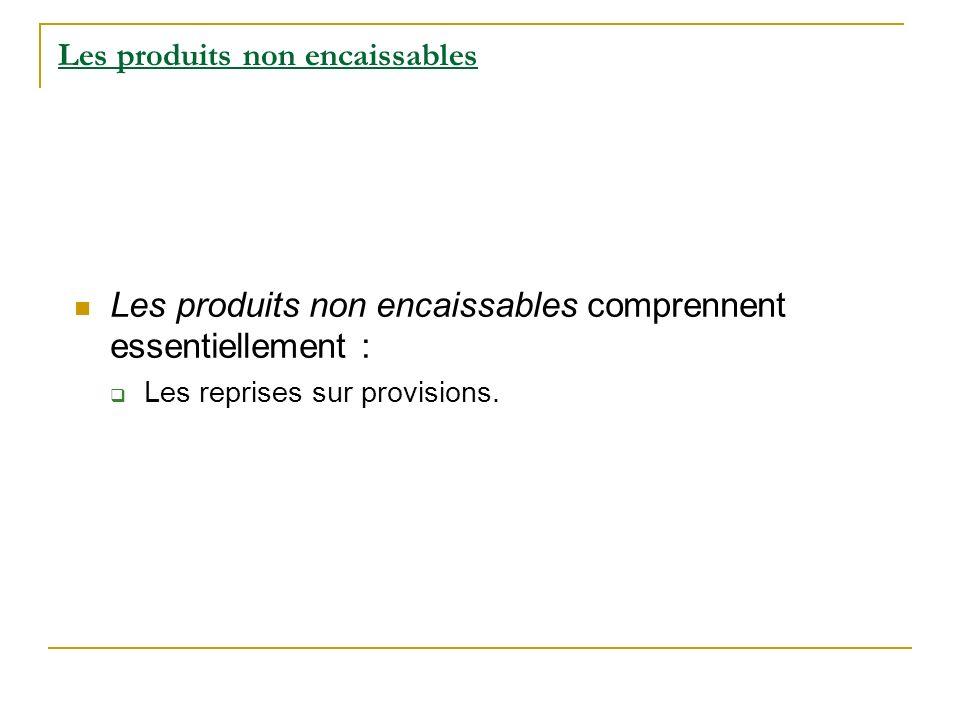 Les produits non encaissables