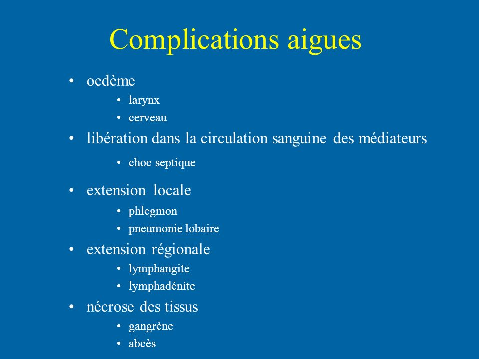 Complications aigues oedème