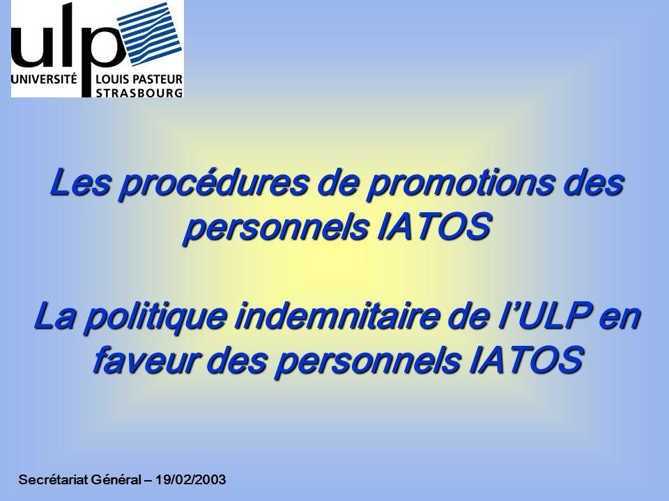 Les procédures de promotions des personnels IATOS La politique indemnitaire de l'ULP en faveur des personnels IATOS