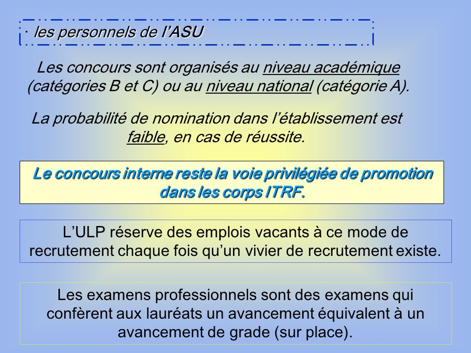 · les personnels de l'ASU