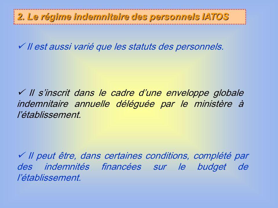2. Le régime indemnitaire des personnels IATOS