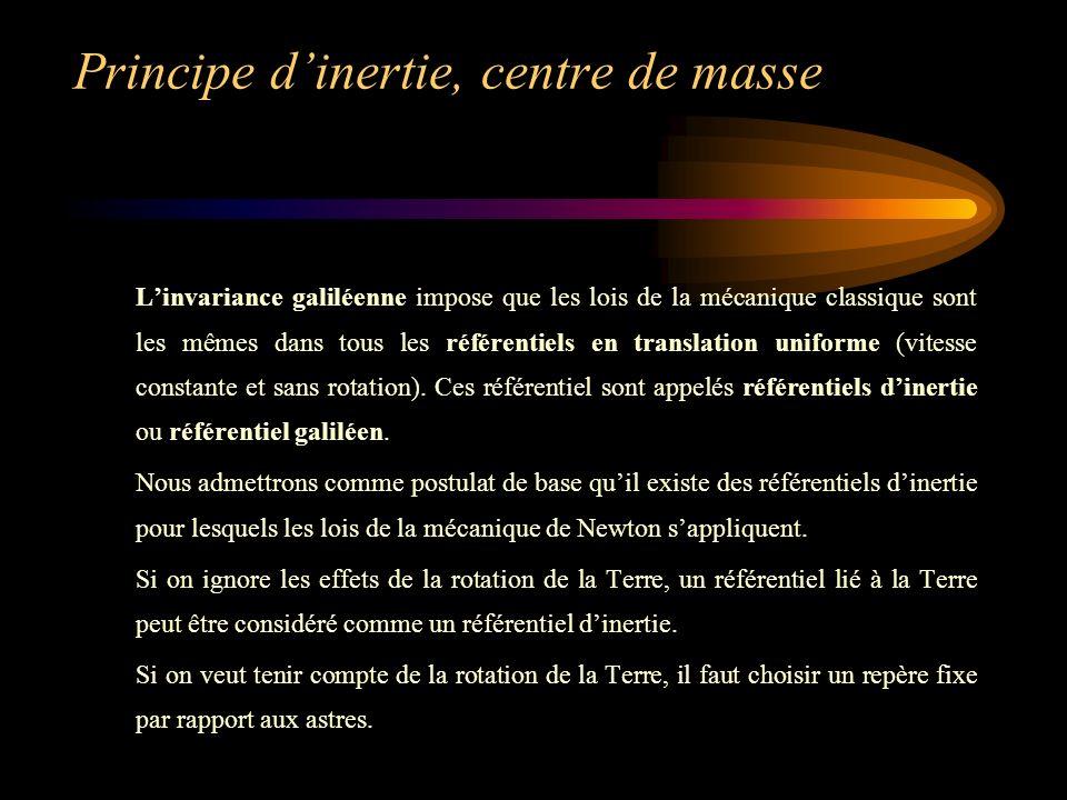 Principe d'inertie, centre de masse
