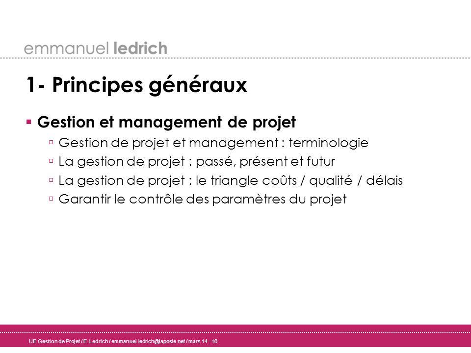 1- Principes généraux Gestion et management de projet