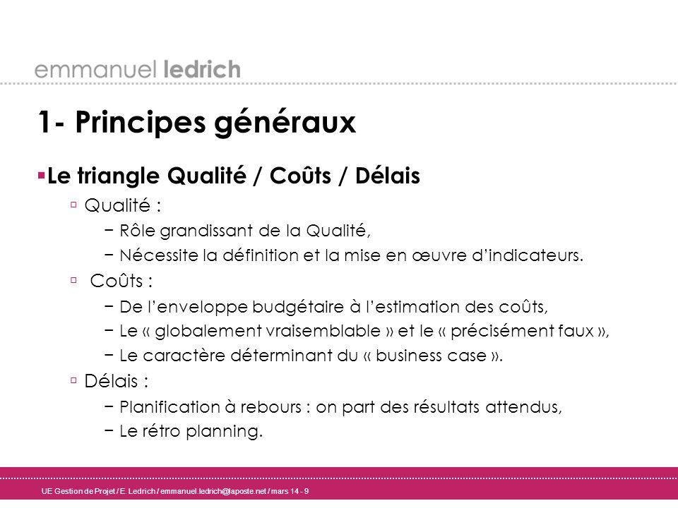 1- Principes généraux Le triangle Qualité / Coûts / Délais Qualité :