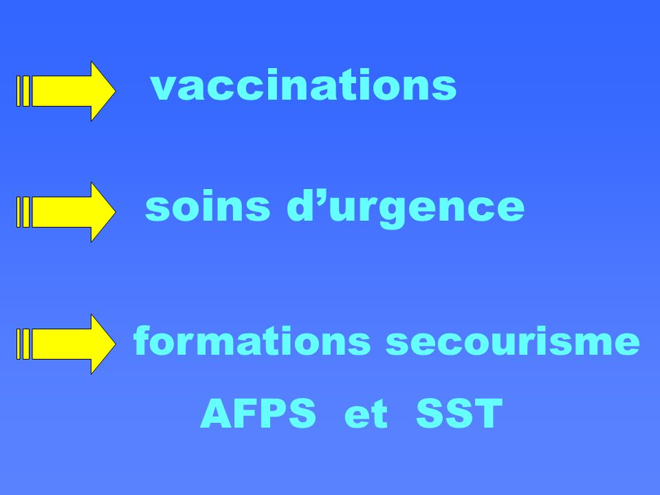 vaccinations soins d'urgence formations secourisme AFPS et SST