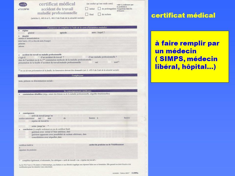 certificat médical à faire remplir par un médecin ( SIMPS, médecin libéral, hôpital…)